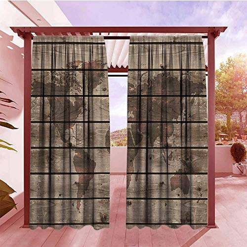 (Curtains Rod Pocket Two Panels Rustic World Map Decor World Atlas Reflection on Horizontal Lined Up Oak Region Space Theme Room Darkening, Noise Reducing W84x96L Brown)