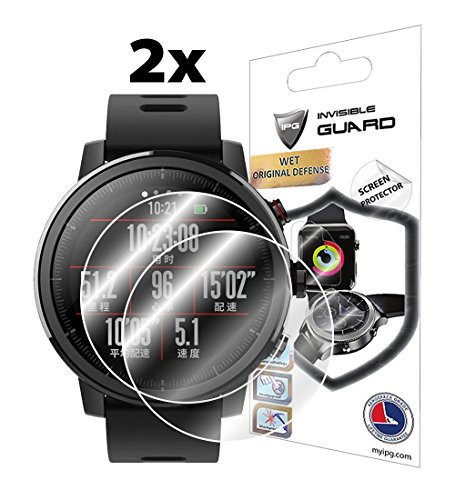 Price comparison product image IPG For XIAOMI HUAMI AMAZFIT PACE 2 STRATOS (SC) (2X) Smartwatch Screen Protector Invisible Ultra HD Clear Film Anti Scratch Skin Guard - Smooth / Self-Healing / Bubble -Free By