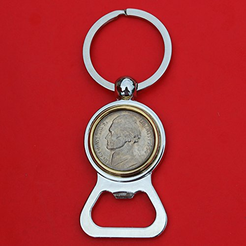 US 1954 Jefferson Nickel 5 Cent BU Uncirculated Coin Gold Silver Two Tone Key Chain Ring Bottle Opener NEW