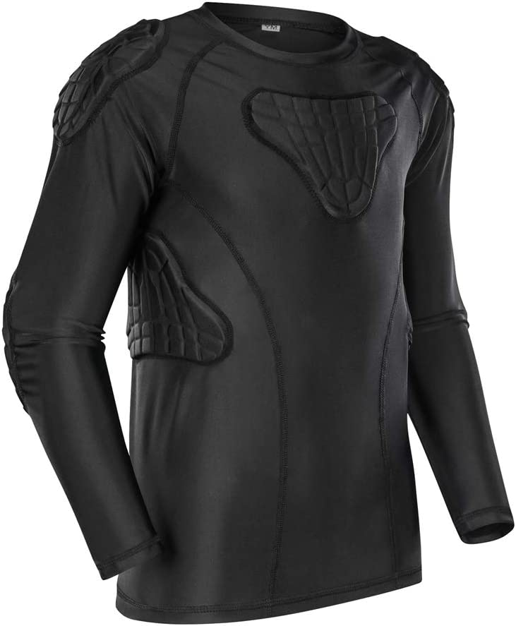 TUOYR Padded Shirt Youth Boys Padded Compression Sports Protective T-Shirt Rib Chest Protector Extreme Exercise : Sports & Outdoors