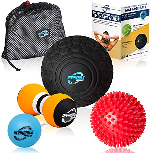 Invincible Fitness Massage Balls Set for Deep Tissue Muscle Recovery, Perfect for Myofascial Release, Trigger Point Therapy, Mobility and Plantar Fasciitis (Black, Blue, Red, Green) (Glutes For Massage Ball)