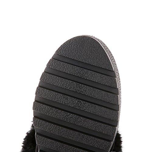 AgooLar Damen Mitte-Spitze Rein Ziehen auf Hoher Absatz Stiefel mit Schnalle Schwarz