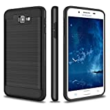 Galaxy J7 Prime Case, SAMONPOW Slim Fit Hybrid Shock Absorption Brushed Texture Hard Defender Rugged Soft Rubber Bumper Impact Resistant Drop Protection Case for Samsung Galaxy J7 Prime - Black