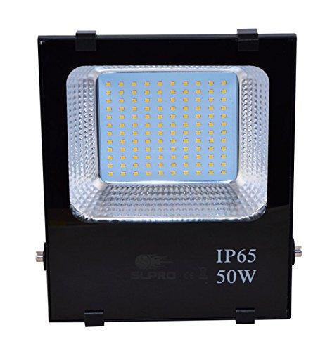 Foco led SMD 50 W impermeable IP65, foco exterior, luz exterior para jardín, color negro, lámpara de trabajo, foco halógeno led exterior, lámpara led ...