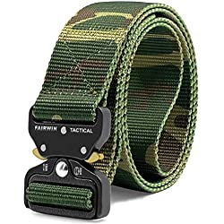 "Fairwin Tactical Belt, Military Style Webbing Riggers Web Belt with Heavy-Duty Quick-Release Metal Buckle, (Camo M 36""-42"")"