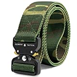Fairwin Tactical Belt, Military Style Webbing Riggers Web Belt with Heavy-Duty Quick-Release Metal Buckle (Camo, S 30''-36'')
