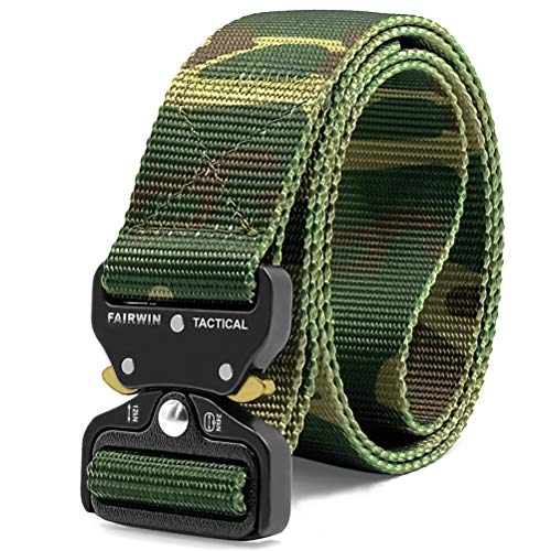 Fairwin Tactical Belt, Military Style Webbing Riggers Web Belt with Heavy-Duty Quick-Release Metal Buckle, (Camo M -