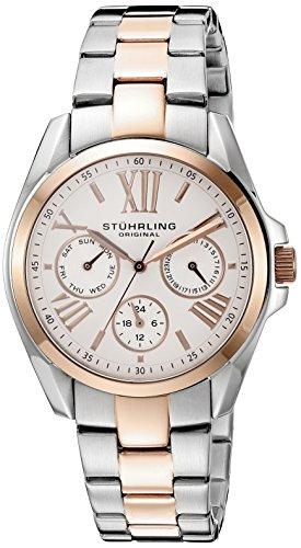 Stuhrling-Original-Symphony-Dynamo-Reloj-de-cuarzo-para-mujer-con-correa-de-acero-inoxidable-bicolor