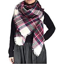 Peach Couture Cozy Plaid Patterned Oversized Fall or Winter Blanket Scarf Wrap