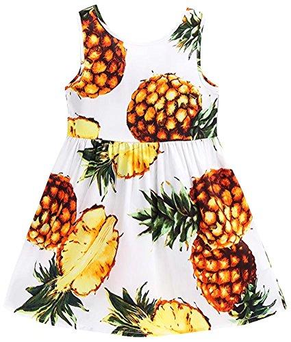 Welity Girls Sleeveless Hawaiian Floral Dress