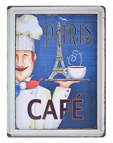 K&H Paris Cafe Diner Retro Metal Tin Wall Sign Poster Wall Decor 12X16-Inch