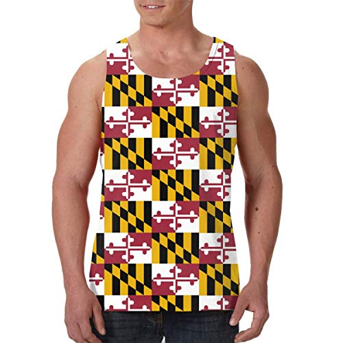 Men Boys Maryland State Flag Sleeveless Undershirt Summer Athletic Sweat Shirt Dry-Fit Vests Fitness Sport Quick Dry SweatproofBeachwear - Creative 3D Print