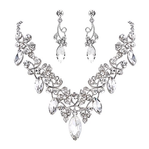 BriLove Costume Fashion Necklace Earrings Jewelry Set for Women Crystal Floral Vine Leaf Statement Necklace Dangle Earrings Set Clear Silver-Tone
