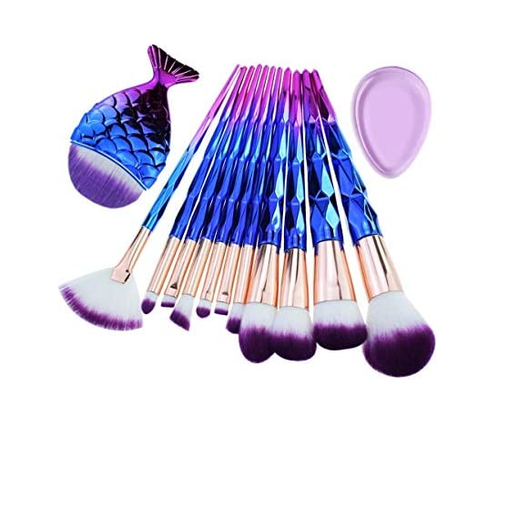 MISS & MAM Professional Diamond Handle Makeup Brush Set with Big Fish Tail for Foundation Eyeshadow Lips - 12 Pieces