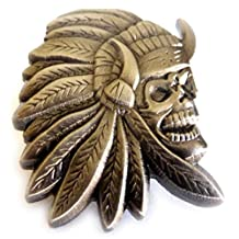 Indian Chief Skull Skeleton Biker Motorcycle Hat Jacket Vest Lapel Pin