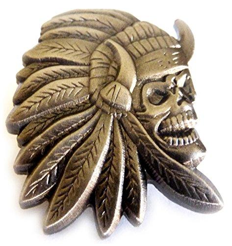 Indian Chief Skull Skeleton Biker Motorcycle Hat Jacket Vest Lapel Pin