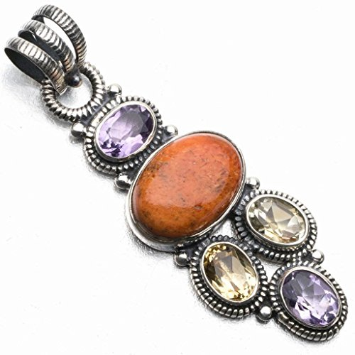 - Natural Sponge Coral,Citrine and Amethyst Punk Style 925 Sterling Silver Pendant 2