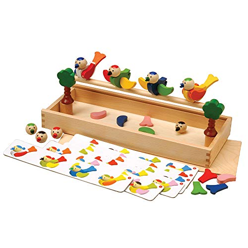 Constructive Playthings GOG-720 Constructive Playthings Magnetic Building Birds 41 pc. Set with Wooden Storage Box