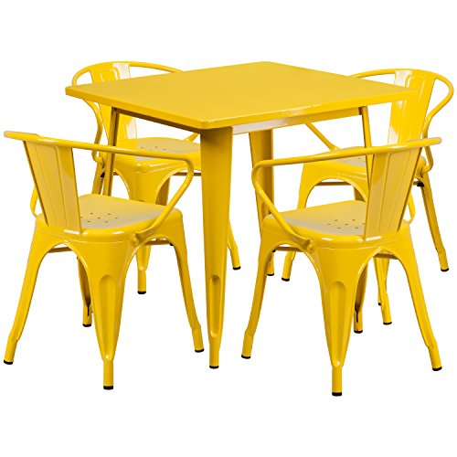 Yellow Metal Indoor Table Set ET-CT002-4-70-YL-GG
