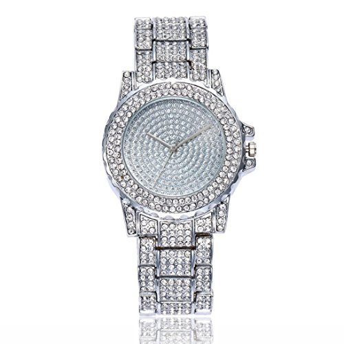 Swyss Women Fashion Trend Watch diamond Luxury Analog Quartz Round Wrist Watch Chic Temperament Jewelry (silver)