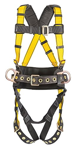 MSA 10077572 Workman Construction Harness with Back/Hip D-Rings, Tongue Buckle Leg Straps, Qwik-Fit Chest Strap Buckle,...
