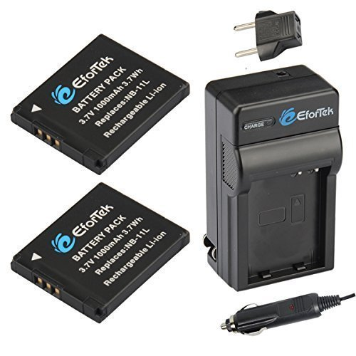 EforTek NB-11L Replacement Battery (2-Pack) and Charger Kit for Canon NB-11L and Canon PowerShot A2300 IS, A2400 IS, A2500, A2600, A3400 IS, A3500 IS, A4000 IS, ELPH 110 HS, ELPH 115 HS, ELPH 130 HS, ...