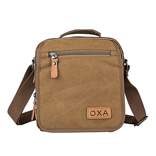 OXA Durable Vintage Canvas Shoulder Messenger Casual Sling Bag for Men and Women Brown