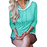 fine_fine Women's Long Sleeve Solid Color Display Lace Panel Hoodie Long Sleeve T-Shirt Top