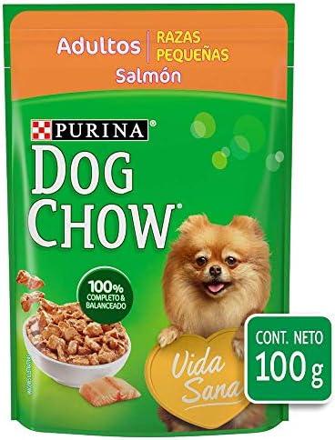 DOG CHOW Alimento Húmedo Adultos Razas Pequeñas Salmon, Paquete con 20 Pzas de 100g 3
