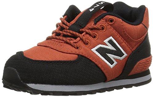 New Balance Kids' 574v1 Sneaker, Orange/Black, 4 M US Toddler