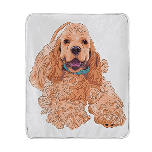 Top Carpenter Cocker Spaniel Dog Velvet Plush Throw Thermal Blanket - 4.2x5ft - Printed for Couch Bed Sofa Car
