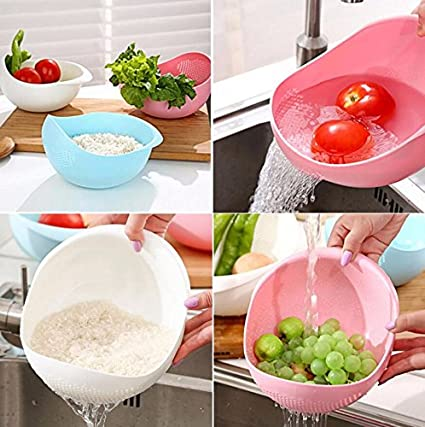 Kretix Plastic Vegetable Fruit Basket Rice Wash Sieve Washing Bowl Colander Sieves