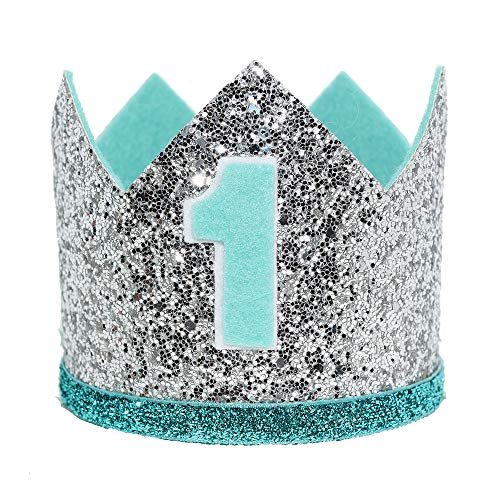 Maticr Glitter Baby Boy First Birthday Crown Number 1 Headband Little Prince Princess Cake Smash Photo Prop (Large Silver & Mint - Birthday Cone Hat Boy 1st
