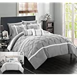 Chic Home 10 Piece Dorothy Pinch Pleated Ruffled and Reversible Geometric Design Printed Bed in a Bag Comforter Set, Queen, Grey