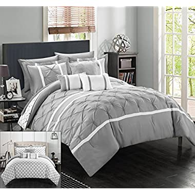 Chic Home 10 Piece Dorothy Pinch Pleated Ruffled and Reversible Geometric Design Printed Bed in a Bag Comforter Set, King, Grey