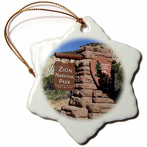 3dRose ORN_147408_1 East Entrance, Zion National Park, Utah US45 LSE0019 Lynn Seldon Snowflake Ornament, Porcelain, 3-Inch