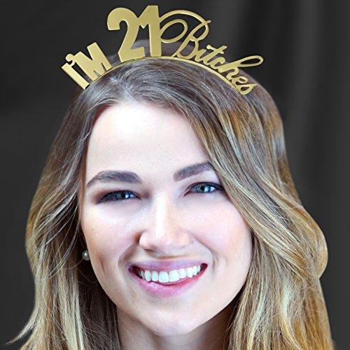 I'm 21 Bitches Rhinestone Gold Satin Sash & Gold Headband Tiara - 21st Birthday Gift Set Supplies – Gold by RhinestoneSash (Image #1)