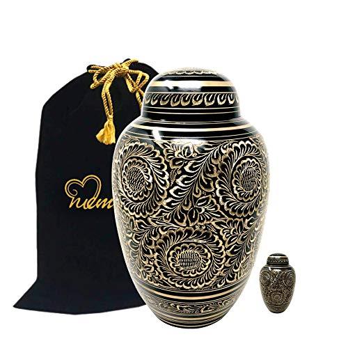 MEMORIALS 4U Golden Aura Cremation Urn with Free Keepsake - Black & Gold Urn - Black and Gold Urn - Adult Funeral Urn Handcrafted - Affordable Urn for - Large Urn Black