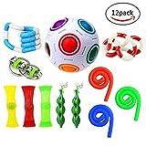Fidget Toys,Mofawo 12 Pack Bundle Sensory Fidget Toys Set-Bike Chain,Marble Fidget Toys,Rainbow Magic Stress Balls,Squeeze-a-Bean Soybeans for Autism Children