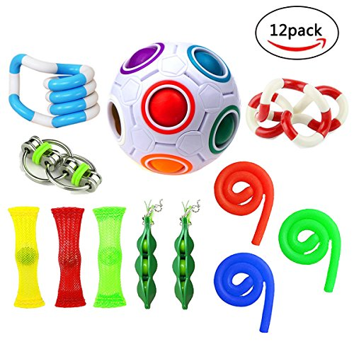 Fidget Toys,Mofawo 12 Pack Bundle Sensory Fidget Toys Set-Bike Chain,Marble Fidget Toys,Rainbow Magic Stress Balls,Squeeze-a-Bean Soybeans for Autism (Remote Pop Up Set)