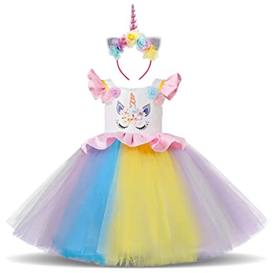 Little Big Girl Unicorn Costume Flower Applique Rainbow Tutu Dress Pageant Party Dress Birthday Stage Performance