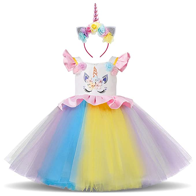 aa553234b5039 Amazon.com: Unicorn Princess Costume Halloween Flower Applique ...