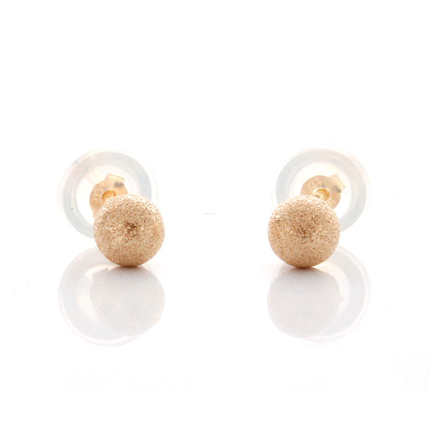 14K Yellow Gold 4mm Laser Cut Ball Stud Earrings For 5 Months to 5 Years old Baby Shine On er600-4mm