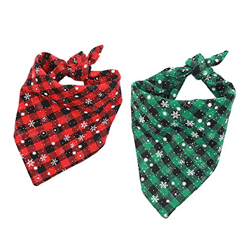 Kaimaily 2 Pieces Dog Bandanas, Christmas Pet Triangle Scarf Washable Adjustable Dog Scarf Bow Tiess for Small Medium Dogs Cats Pets (Medium, Red+ -