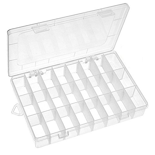 Mavel Plastic Jewelry Organizer Box 24 Grids Clear Storage Container Compartment Box Adjustable Dividers