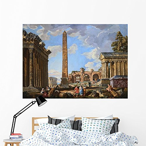 Wallmonkeys Capricci of Classical Ruins with The Colosseum and The Maison Carree Wall Decal Peel and Stick Graphic WM290334 (60 in W x 43 in H)