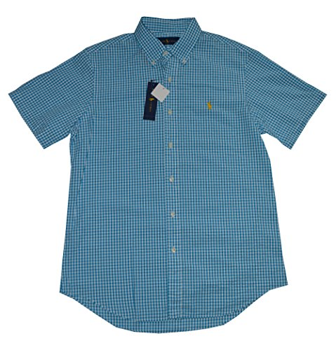 Polo Ralph Lauren Men's Short Sleeve Seersucker Button Front Shirt (Medium, Marine / White)