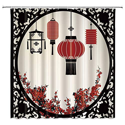 BCNEW China Window Shower Curtain Decor Oriental Lantern Plum Blossoms Red Flower Bathroom Curtain Polyester Fabric Machine Washable with Hooks 70x70 Inches