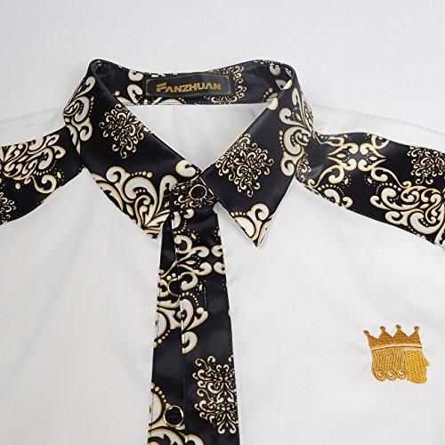 Fanzhuan Iron Flores Non Estampadas Blanco Elegantes Hombre Slim Camisa Fit Negro z8TOrzWa