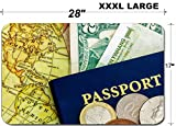 Liili Large Table Mat Non-Slip Natural Rubber Desk Pads Blue with world currency and map of america IMAGE ID 14250986